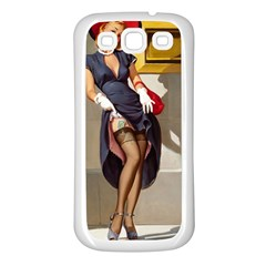 Retro Pin-up Girl Samsung Galaxy S3 Back Case (White)