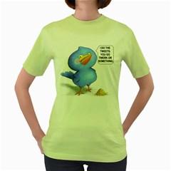 tweet-a-bird Womens  T-shirt (Green)