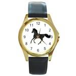 Running Horse Round Metal Watch (Gold Rim)  Front