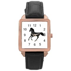 Running Horse Rose Gold Leather Watch