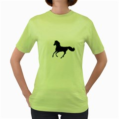 Running Horse Womens  T-shirt (Green)