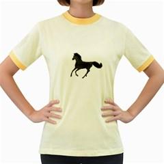 Running Horse Womens  Ringer T Shirt (colored)
