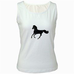 Running Horse Womens  Tank Top (White)