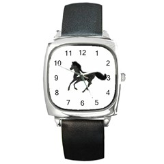 Running Horse Square Leather Watch