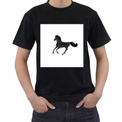 Running Horse Mens' Two Sided T-shirt (Black)