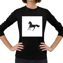 Running Horse Womens' Long Sleeve T Shirt (dark Colored)