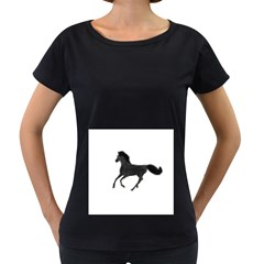 Running Horse Womens' Maternity T-shirt (Black)