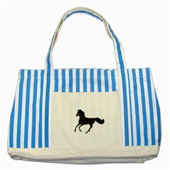 Running Horse Blue Striped Tote Bag