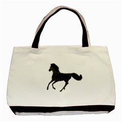 Running Horse Twin-sided Black Tote Bag