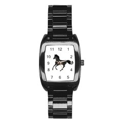 Running Horse Men s Stainless Steel Barrel Analog Watch