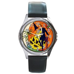 Hallowe en Greetings  Round Metal Watch (Silver Rim)