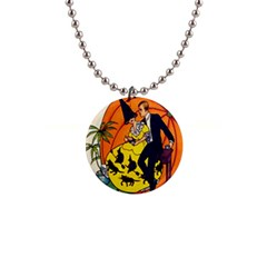 Hallowe en Greetings  Button Necklace