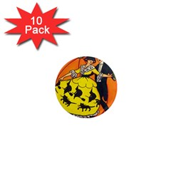 Hallowe en Greetings  1  Mini Button Magnet (10 pack)