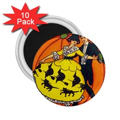 Hallowe en Greetings  2.25  Button Magnet (10 pack)