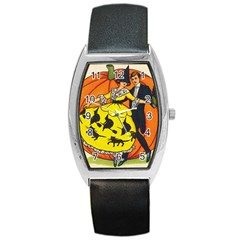 Hallowe en Greetings  Tonneau Leather Watch