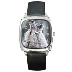 Wolf Square Leather Watch