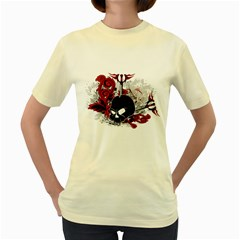 Skull  Womens  T-shirt (Yellow)