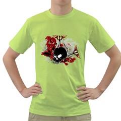 Skull Mens  T-shirt (Green)