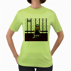 Baby in the jail Womens  T-shirt (Green)