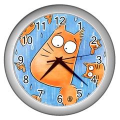 PookieCat clock Wall Clock (Silver)