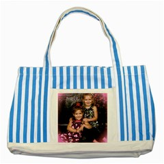 Candence And Abbey   Copy Blue Striped Tote Bag