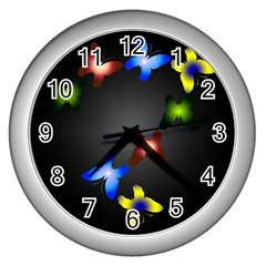 Butterfly Trail Wall Clock (silver)