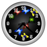 Butterfly Trail Wall Clock (Silver) Front