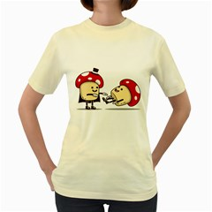 Magic Mushrooms  Womens  T-shirt (Yellow)