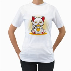 Maneki  Grumpy  Neko Womens  T-shirt (White)