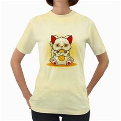 Maneki  Grumpy  Neko  Womens  T-shirt (Yellow)