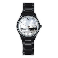 Grey Sparkling Santa Monica Pier Sport Metal Watch (black)