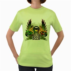 Chicks Bikes And Beer Womens  T-shirt (Green)