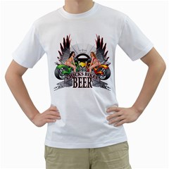 Chicks Bikes And Beer Mens  T-shirt (White)