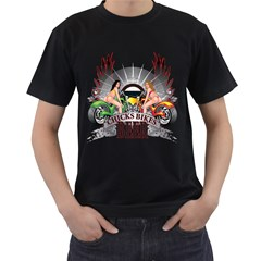 Chicks Bikes And Beer Mens' Two Sided T-shirt (Black)