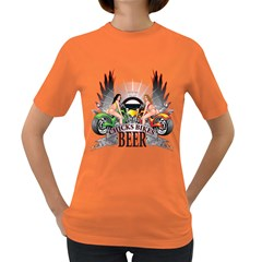 Chicks Bikes And Beer Womens' T Shirt (colored)