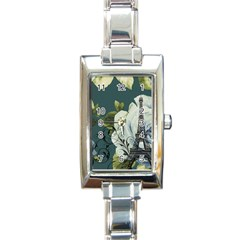 Blue Roses Vintage Paris Eiffel Tower Floral Fashion Decor Rectangular Italian Charm Watch