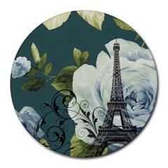 Blue roses vintage Paris Eiffel Tower floral fashion decor 8  Mouse Pad (Round)