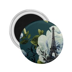 Blue roses vintage Paris Eiffel Tower floral fashion decor 2.25  Button Magnet