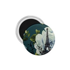 Blue Roses Vintage Paris Eiffel Tower Floral Fashion Decor 1 75  Button Magnet