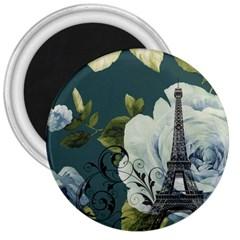 Blue roses vintage Paris Eiffel Tower floral fashion decor 3  Button Magnet