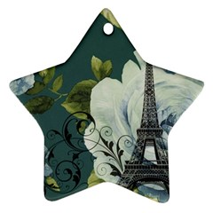 Blue Roses Vintage Paris Eiffel Tower Floral Fashion Decor Star Ornament