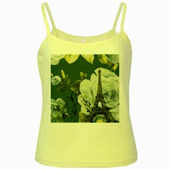 Blue roses vintage Paris Eiffel Tower floral fashion decor Yellow Spaghetti Tank