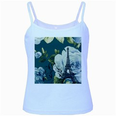 Blue Roses Vintage Paris Eiffel Tower Floral Fashion Decor Baby Blue Spaghetti Tank