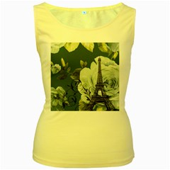 Blue Roses Vintage Paris Eiffel Tower Floral Fashion Decor Womens  Tank Top (yellow)