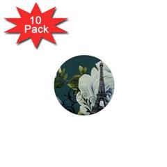Blue roses vintage Paris Eiffel Tower floral fashion decor 1  Mini Button (10 pack)