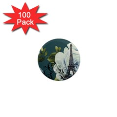 Blue roses vintage Paris Eiffel Tower floral fashion decor 1  Mini Button Magnet (100 pack)