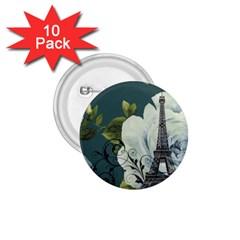 Blue Roses Vintage Paris Eiffel Tower Floral Fashion Decor 1 75  Button (10 Pack)