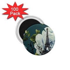 Blue roses vintage Paris Eiffel Tower floral fashion decor 1.75  Button Magnet (100 pack)