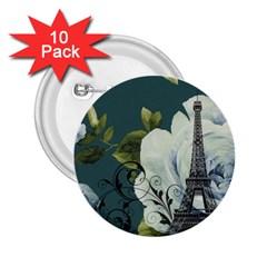 Blue roses vintage Paris Eiffel Tower floral fashion decor 2.25  Button (10 pack)