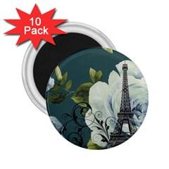 Blue roses vintage Paris Eiffel Tower floral fashion decor 2.25  Button Magnet (10 pack)
